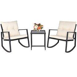 BonusAll 3 Pieces Outdoor Patio Set Rocking Chair Wicker Patio Furniture Sets Rocking Bistro Set ...