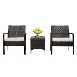 Lovinland Patio Furniture 3 Piece Rattan Outdoor Furniture Table Sofa Conversation Set with Cush ...
