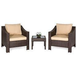 Best Choice Products Set of 2 Outdoor Patio Wicker Club Patio Accent Chairs with Side Table, Brown