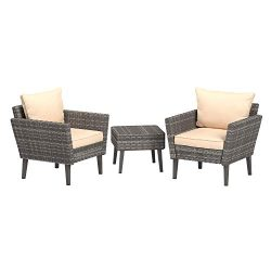 AmazonBasics 3 Piece Patio PE Rattan Wicker Conversation set