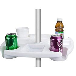 Beach Umbrella Table Tray with 4 Cup Holders Snack Compartments for Beach, Patio Garden Swimming ...