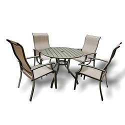 5PC Outdoor Furniture Patio Table and Chairs – Outdoor Dining Set with 4 Chairs and 1 Tabl ...
