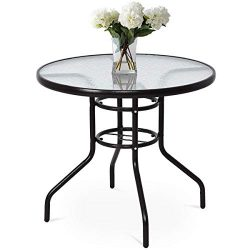 Tangkula Patio Table 32″ Tempered Glass Top Metal Frame Outdoor Garden Poolside Balcony Di ...