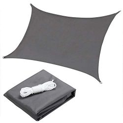 "OYE HOYE 7X13"" Sun Shade Sail Grey Rectangle Waterproof Polyester Canopy Sail Shade UV Blo ..."