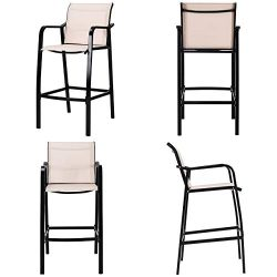 COSTWAY Set of 4 Bar Chairs, Counter Height Stool Steel,Frame Sling Dining Chairs for Indoor Out ...