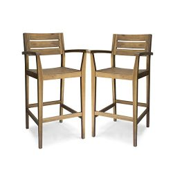 Great Deal Furniture 305813 Lera Outdoor Acacia Wood Barstool, Teak Finish
