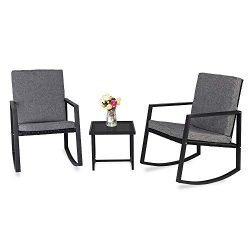 Kshioe 3 Piece Rocking Wicker Patio Set, Bistro Set Furniture, Patio Conversation Set Rattan Sof ...