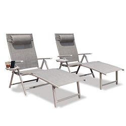 GOLDSUN Aluminum Outdoor Folding Lounge Chairs Adjustable Chaise Lounge Chair Set of 2 with Head ...