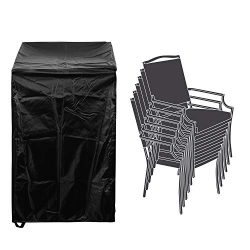 Patio Stackable Chairs Cover Patio Chair Covers Waterproof Durable 26″ L x 34″ D x 4 ...