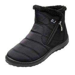 Kiminana Women's Winter Slip On Booties Outdoor Shoes Plus Velvet Waterproof Snow Boots Co ...