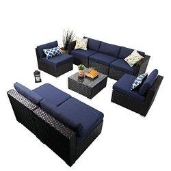PHI VILLA 8 Piece Outdoor Sectional Furniture Rattan Conversation Sofa Patio Rattan Sofa Set wit ...