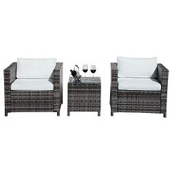 Patiorama 3 Piece Patio Furniture Sets, Outdoor PE Wicker Rattan Furniture Set with Cream White  ...