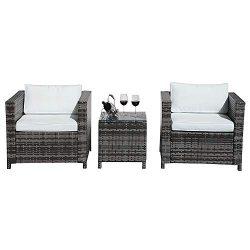 Patiorama 3 Piece Patio Furniture Sets, Outdoor PE Wicker Rattan Furniture Set with Cream White  ...