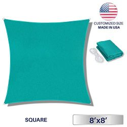 Windscreen4less 8′ x 8′ Square Sun Shade Sail – Solid Turquoise Durable UV She ...