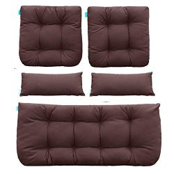 QILLOWAY Outdoor Patio Wicker Seat Cushions Group Loveseat/Two U-Shape/Two Lumbar Pillows for Pa ...
