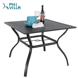 PHI VILLA 37″ x 37″ Patio Outdoor Dining Table with Umbrella Hole, Square Bistro Met ...