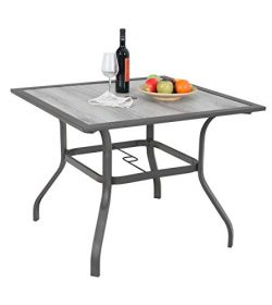 MF Garden Dining Table Umbrella Table Outdoor Coffee Bistro with Hole for Lawn Patio Pool Sturdy ...