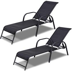 Tangkula Patio Chaise, Set of 2, Back Adjustable Weatherproof Recliner Outdoor Lounger Chair, fo ...