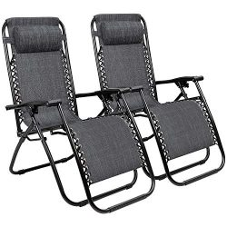 Zero Gravity Chairs Adjustable Outdoor Folding Lounge Patio Chairs with Pillow Recliners for Poo ...