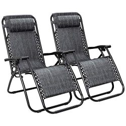 Flamaker Patio Zero Gravity Chair Outdoor Folding Lounge Chair Recliners Adjustable Lawn Lounge  ...