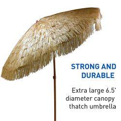 6.5ft Outdoor Beach Umbrella Hula Thatched Tiki Umbrella Tropical Hawaiian Patio Straw Umbrella  ...