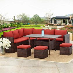 Wisteria Lane Patio Furniture Set,10 PCS Outdoor Conversation Set All Weather Brown Wicker Secti ...