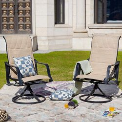 LOKATSE HOME Outdoor Patio Swivel Rocking Chair Set Sling(Set of 2), Beige