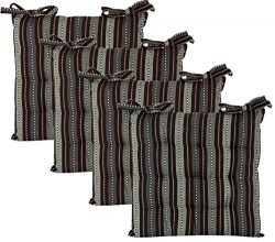 Cotton Craft – Set of 4 -Grey Multi Salsa Stripe Dining Chair Pad Cushion with Ties Size 1 ...