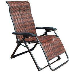 GOLDSUN Rattan Zero Gravity Reclining Chaise Lounger Adjustable Folding Lounge Chair for Garden  ...