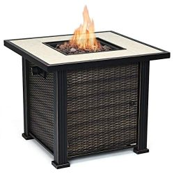 Giantex 30″ Square Propane Gas Fire Pit Table 50,000 BTUs Heater Outdoor Table w/Lava Rock ...