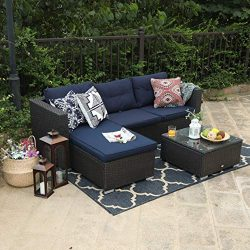 PHI VILLA 3 Piece New Patio Sectional Furniture Outdoor Sofa Set with Upgrade Rattan Wicker Navy ...