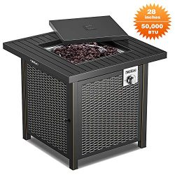 TACKLIFE Propane Fire Pit Table, Outdoor Companion, 28 Inch 50,000 BTU Auto-Ignition Outdoor Gas ...