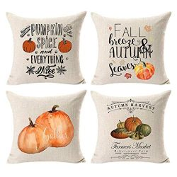 Winsummer Set of 4 Autumn Thanksgiving Pillow Covers Fall Pumpkin Harvest Decorative Pillowcases ...