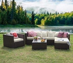 Tribesigns 6 Pieces Outdoor Patio Furniture Set, Rattan Wicker Sectional Sofa Patio Conversation ...