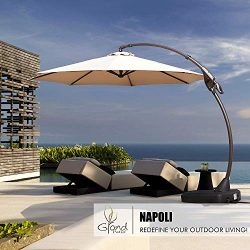 Grand patio Deluxe 11 FT Curvy Aluminum Offset Umbrella, Patio Cantilever Umbrella with Base, Ch ...