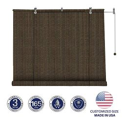Windscreen4less Exterior Roller Shade Outdoor Porch Roll Up Shade Blinds with 90% Sun Protection ...