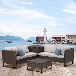 View & co Patio Sofa Patio Furniture Outdoor Sectional Furniture Set P.E Rattan Conversation ...