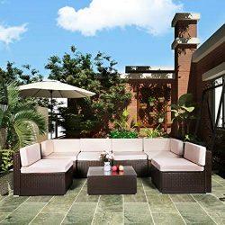 U-MAX 7 Piece Patio PE Rattan Wicker Sofa Set Outdoor Sectional Furniture Chair Set with Cushion ...