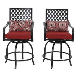 PHI VILLA Outdoor Swivel Bar Chairs Metal Height Bar Bistro Stools with All Weather Steel Frame  ...