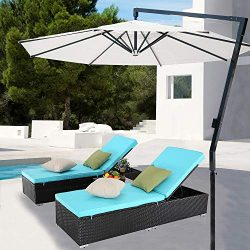 Furnimy 3 Pieces Outdoor Patio Chaise Lounge Chair Sets Rattan Wicker Reclining Adjustable Back  ...