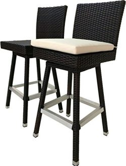 LB LAURA BENASSE LIVE THE DESIGN 30 inch Outdoor Bar Stools Set of 2 – Patio Bar Swivel Ch ...