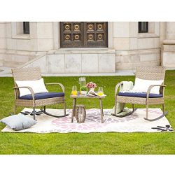 LOKATSE HOME Outdoor Furniture Sets Wicker Rattan 3 Piece Conversation Set with 2 Patio Rocking  ...