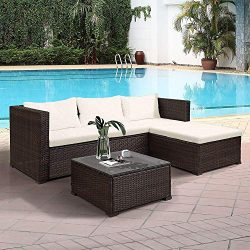 Hooseng 3-Piece Patio Furniture Sets Outdoor Wicker Sofa Rattan Sectional Conversation with Coff ...