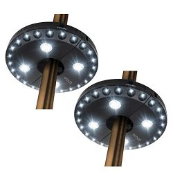 OYOCO Patio Umbrella Light 3 Brightness Modes Cordless 28 LED Lights 200 lumens- 4 x AA Battery  ...