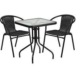 "Flash Furniture 23.5"" Square Glass Metal Table with 2 Black Rattan Stack Chairs"