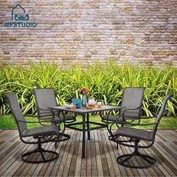 MF STUDIO 5 Piece Metal Patio Armrest Dining Swivel Chairs and Larger Square Table Set, 37″ ...