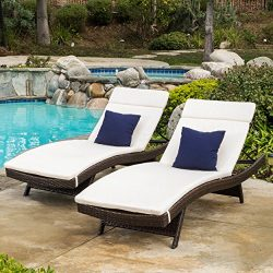 Lakeport Patio ~Outdoor Chaise Lounge Chair Cushions (Only)(Set of 2)(Beige)
