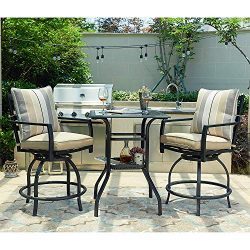 LOKATSE HOME 3 PCS Outdoor Patio Bistro Swivel Bar Sets with 2 Stools and 1 Glass Top Table, Whi ...