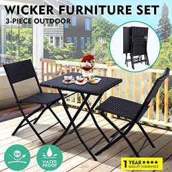 GARTIO 3Pcs Patio Rattan Bistro Set, Foldable Table and Chairs Outdoor Waterproof Hand Woven Fur ...