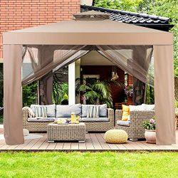 Tangkula 10'x 10′ Canopy Gazebo Tent Shelter, Art Steel Frame for Home/Garden/Lawn/P ...